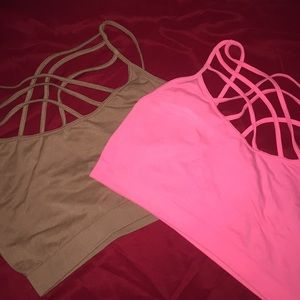 Lot of 2 Zenana Outfitters Strappy Bralettes
